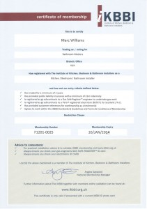 iKBBI Certificate showing Marc as an approved bathroom fitter